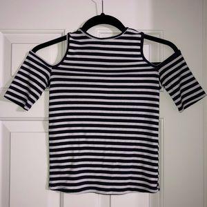 High Neck Striped Shirt w/ Shoulder Cut outs